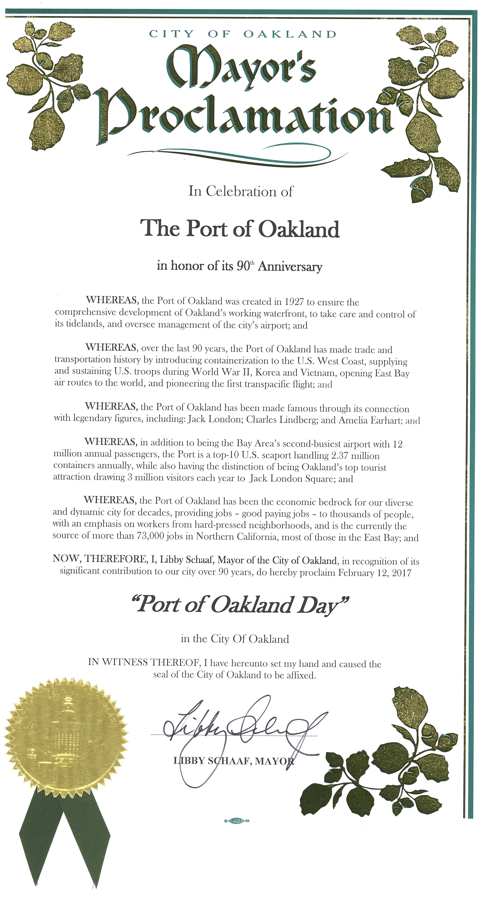 90th Anniversary Mayors Proclamation