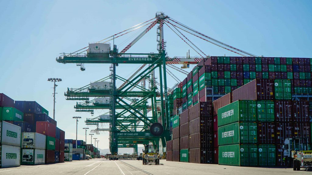 The photo shows the newest, tallest crane at the Ben E. Nutter Terminal at the Port of Oakland.